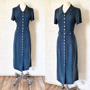 Cerulean Blue Button Front Dress | Vintage